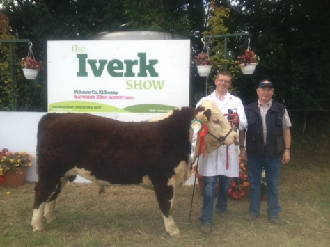 Reserve champion  'Tourtane Jamsey Boy' with Mervyn Parr and Martin Campion