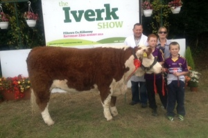 Winner of the class sponsored by Hereford Prime  'Clonroe Jacky' with the Jones family