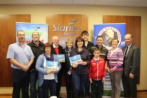 From left:  Eddie McCabe – Manager Lidl Enniscorthy, Eamonn Moulds – Procurement Manager Slaney Foods International, Angela Armstrong Navan Co. Meath (Winner), Pat Lawlor (Winner) and Anne Lawlor Ballymore-Eustace, Co. Kildare, Marie McGrath, Clashmore, Co. Waterford (Winner), Denis Brennan – Livestock Procurement Slaney Foods International, David and Kieron McGrath, Betty Deacon – Farm Liaison Officer Slaney Foods International, Larry Feeney – Secretary Irish Hereford Breed Society