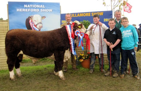 Supreme Champion Cavehill Storm with Judge Tom Brennan with Padraig Farrell & Family