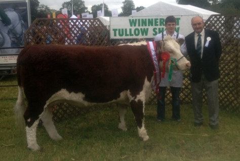 Champion 'Lakelodge Kathy 5' with Glenn Dudley and Mr. Patrick Sheedy, Judge