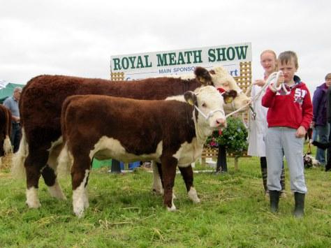 Knockmountagh Sweet Pea and her calf with Hanna Creedon and Thomas McKierna