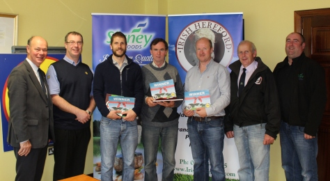 Left to Right Larry Feeney – Irish Hereford Breed Society - Secretary Eddie McCabe – Lidl Enniscorthy - Manager Andy Mulhare – Ballybrittas, Portlaoise - Winner Noel Quinlan – Gowran, Co. Kilkenny - Winner Nick Redmond – Gorey, Co. Wexford - Winner Willie Branagan – Irish Hereford Breed Society - Chairman Eamonn Moulds – Slaney Foods - Procurement Manager