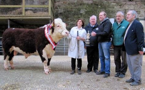 Champion Dunworley Sparkey with breeder Mary Pat Dinneen Maloney, John Neenan, President IHBS (Judge),John Appelbe presenting the Appelbe Trophy, Pat McCarthy, IHBS and Neil O'Riordan representing Cork Marts.