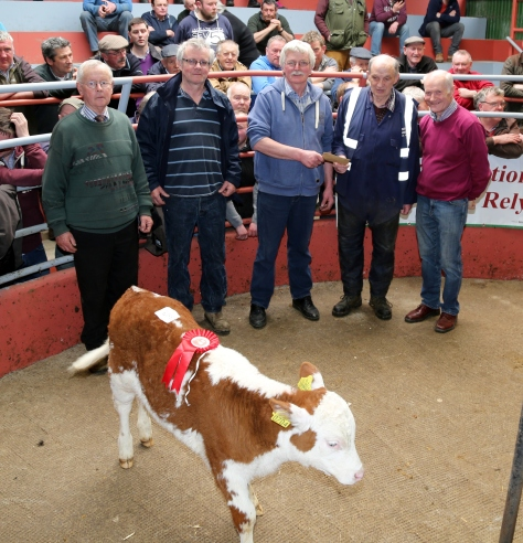 William Egan, Milford was the First Prize winner for his Hereford Heifer Calf at the Kanturk Mart Hereford Calf Promotion. In William's absence, John Murphy of Kanturk Mart accepted the prize presented by John Joe O' Reilly of the Hereford Society. Also included are John Cott (Chairman Kanturk Mart), Tim Broderick (Judge), and Liam Philpott (Hereford Society).  The Calf was sold for €500. Photo by Sheila Fitzgerald