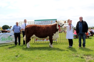 Winner Cow Class Knockduff Poll 1 Daisy with Society Chairman Willie Branagan, Mervyn Parr IHBS, Fiona Jones and Eamonn Moulds Sponsors Slaney Foods International.