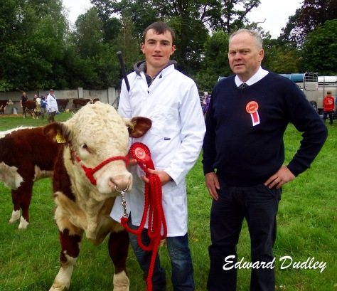 Tadhg Fogarty, winner of the senior stockperson class and Tommy Beirne (judge)