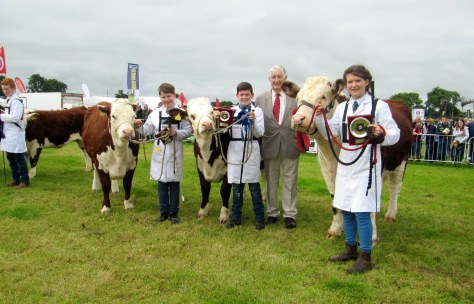 R to L Winners Young Handler 1st Catherine Smyth, 2nd Jack Maloney, 3rd PJ Maloney