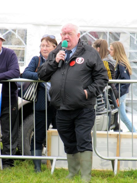 Judge John Neenan gives a commentary on his placings as his wife Helen watches the proceedings