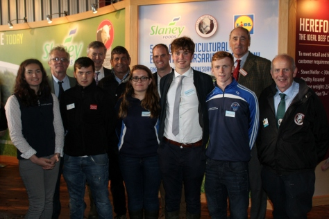 Photo left to right (front row): Winners: Hannah Quinn Mulligan, Paraic Ryan, Nicole Keohane McCarty, Michael Kennedy and Clem Rossiter, William Branagan – IHBS Chairman IHBS. (second row): Liam Philpott (IHBS President), Rory Fanning – Slaney Foods Managing Director, Andrew Doyle - Minister of State for Food, Forestry and Horticulture, Brendan Conway - Lidl Buyer, Matt Dempsey – Chairman The Agricultural Trust